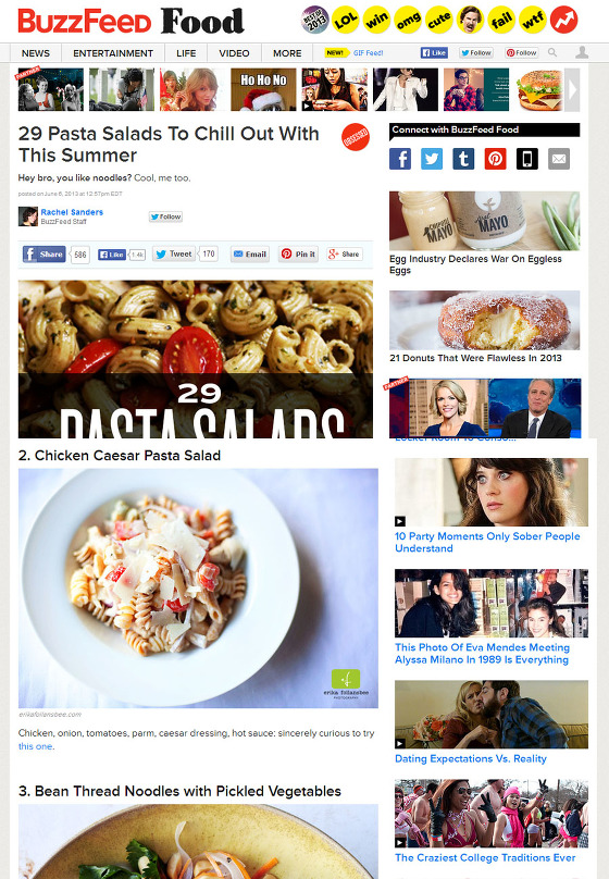 recipe feature on Buzzfeed Food