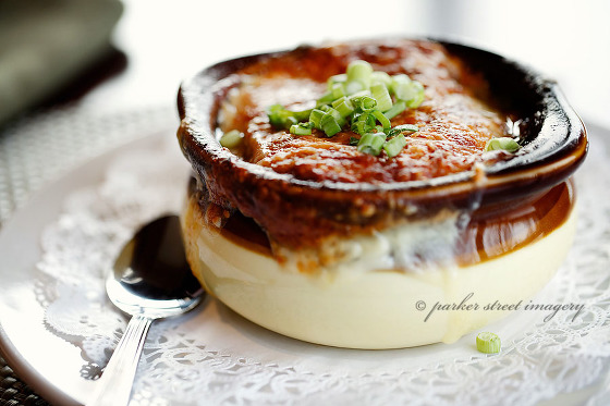 french onion soup from the Hilton Garden Inn Pavilion Restaurant