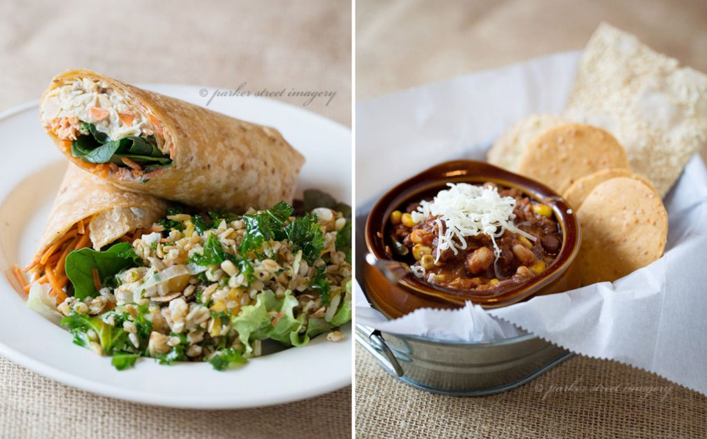 veggie wrap and spicy vegetable chili