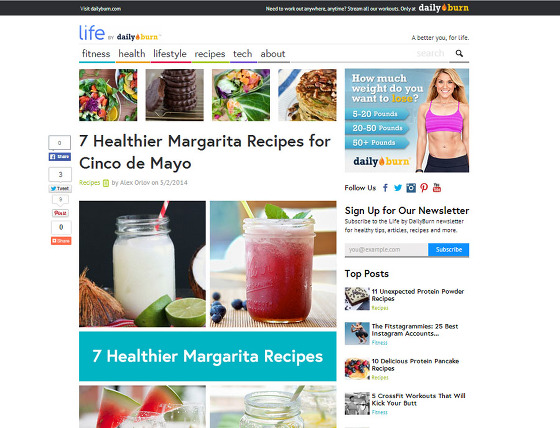 margarita recipe on Daily Burn Life blog
