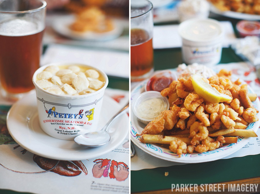 seafood chowder and fried shrimp from Petey