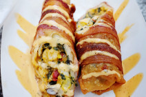 bacon wrapped southwestern chicken eggroll master bacon food truck