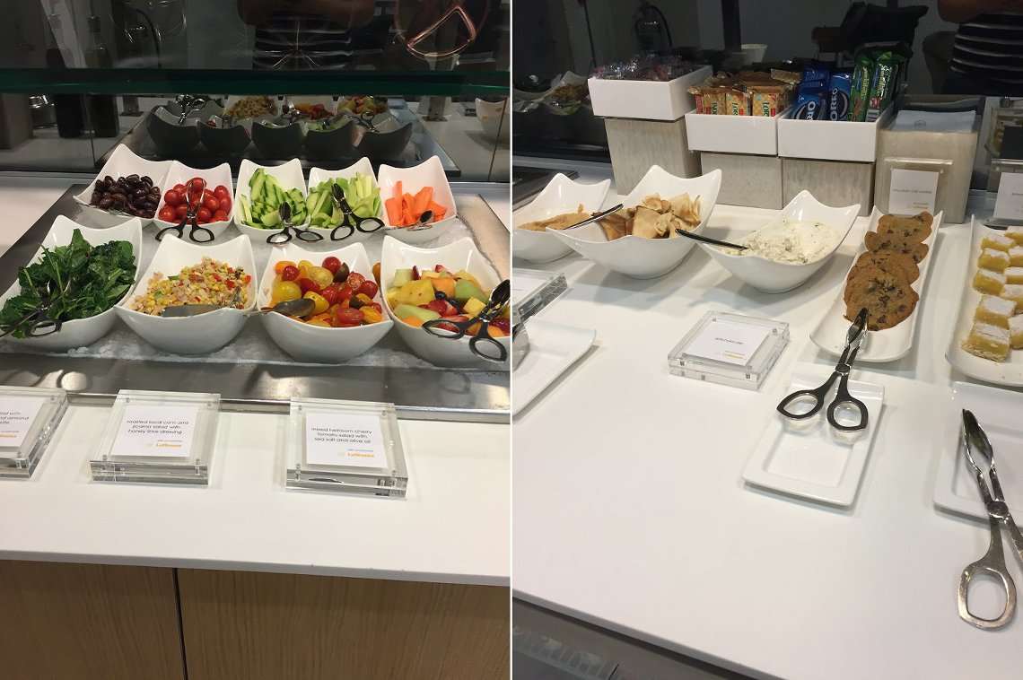 Snack selection at BOS Logan business lounge
