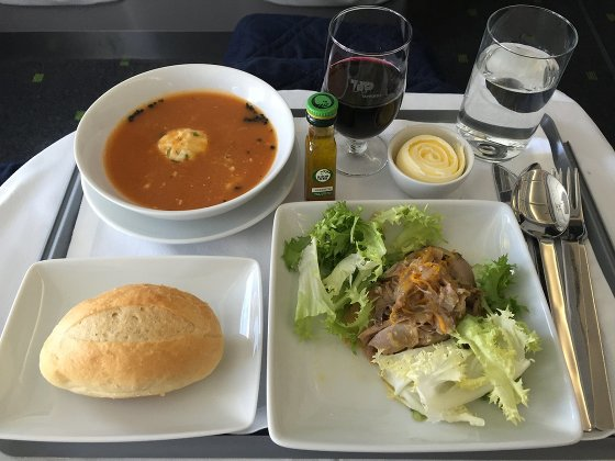 TAP Portugal Business class soup and salad