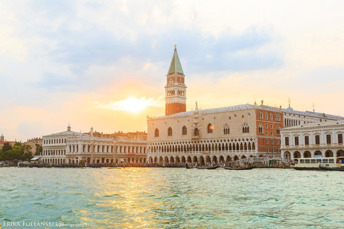 Piazza San Marco at sunset, as seen from the Grand Canal
