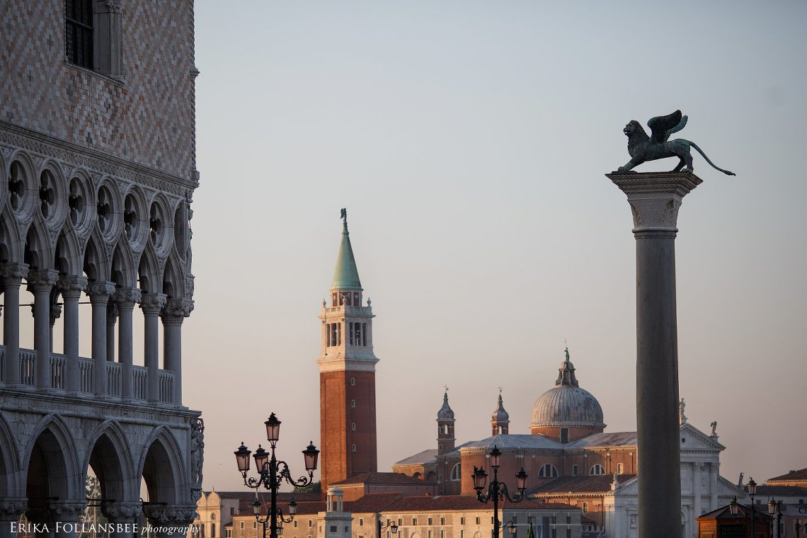Pink Sunrise over San Marco Piazza in Venice