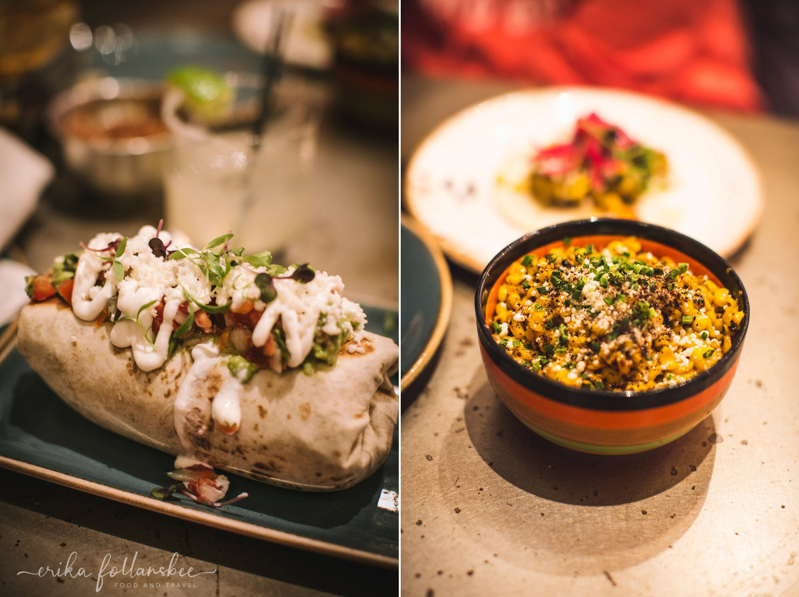 Carnitas Burrito and Mexican Street Corn